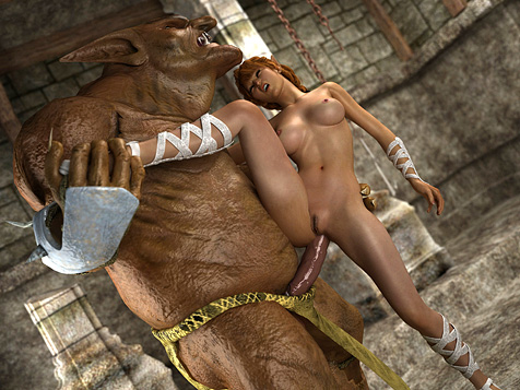 3d cute girl fucked by orc