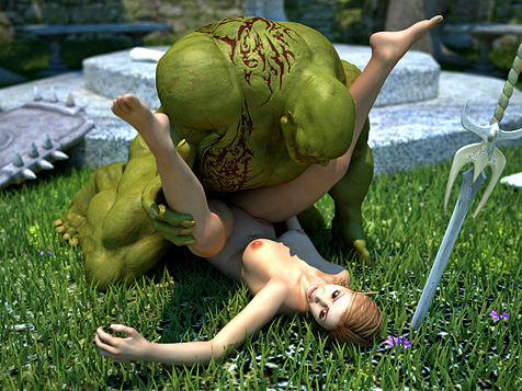 elf banged by orc 3d