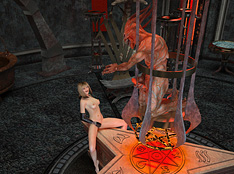 masturbation in fron of the monster